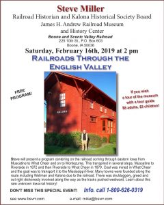 "Steve Miller to present ""Railroads Through the English Valley"" at the James H. Andrew Railroad Museum"