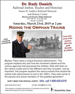 "Dr. Rudy Daniels to present ""Riding the Orphan Trains"", Saturday, March 23"