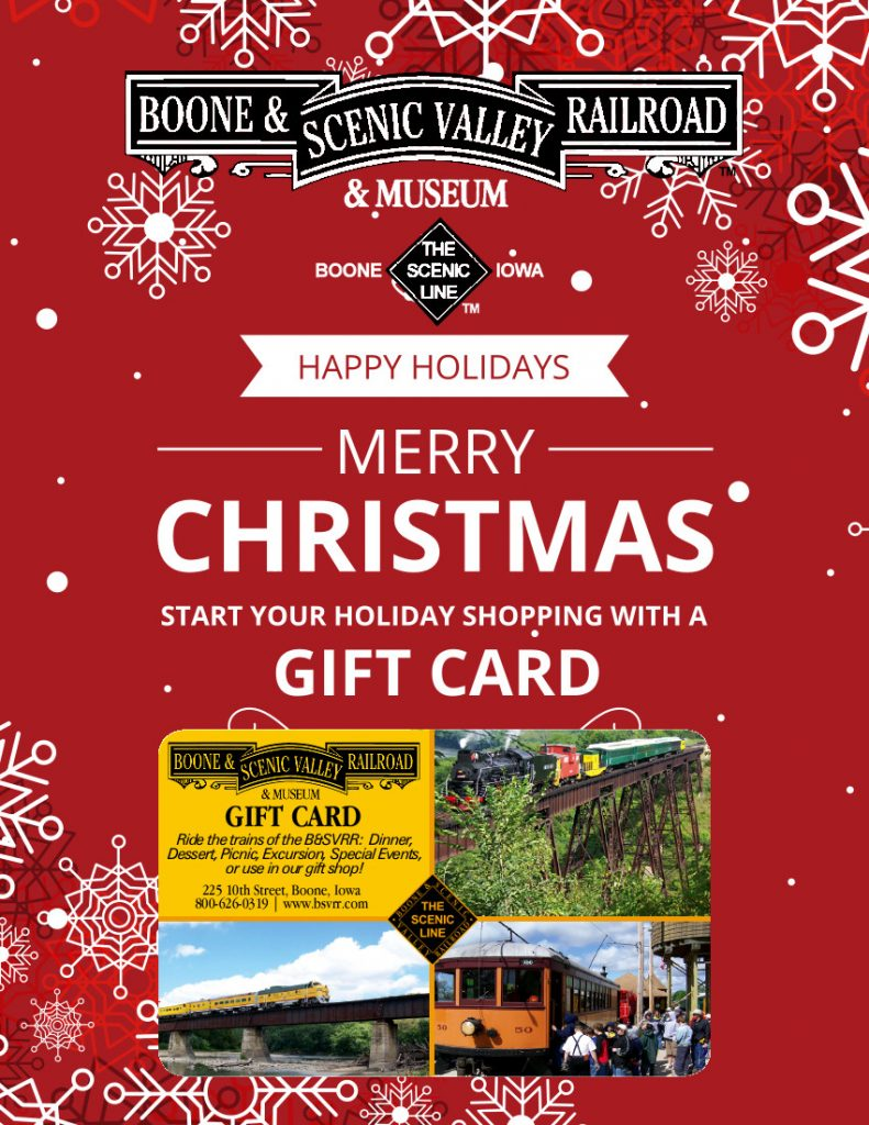 B&SVRR gift cards are available!