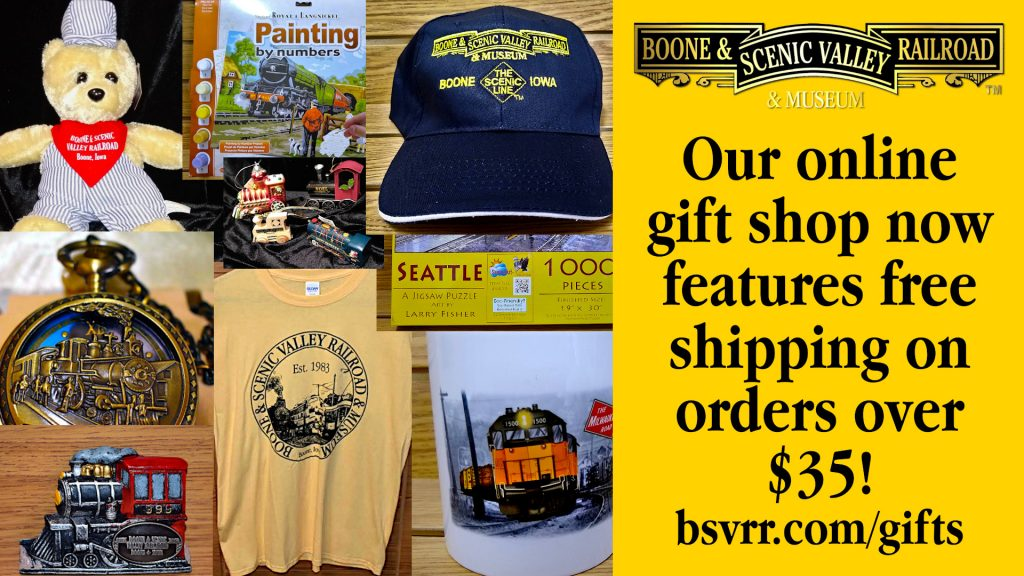 B&SVRR Gift Shop offering free shipping on orders over $35